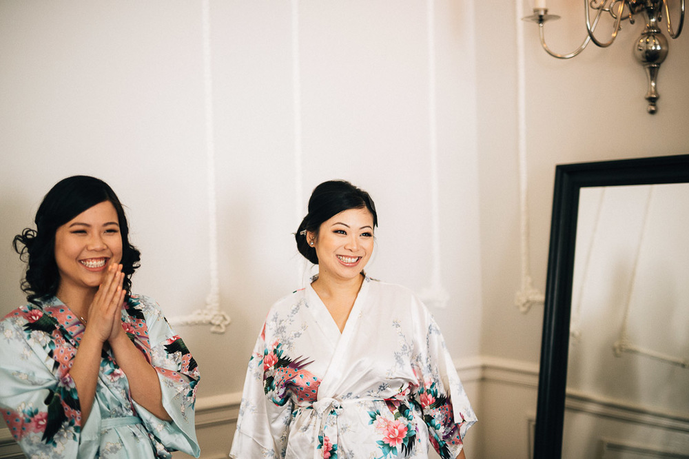 bride and bridesmaids at the vancouver club in coal harbour for wedding