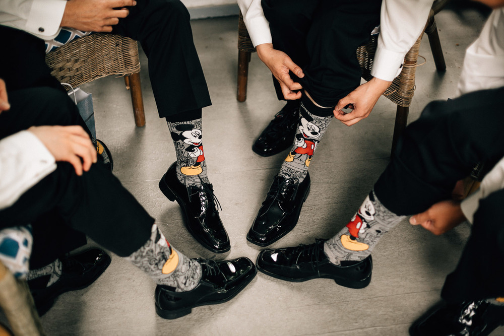 groom and groomsmen disney socks vancouver wedding photography