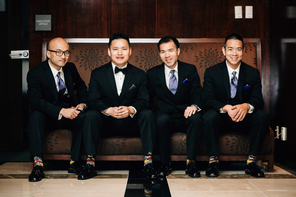 groomsmen and groom portrait at the westin grand hotel vancouver wedding photography