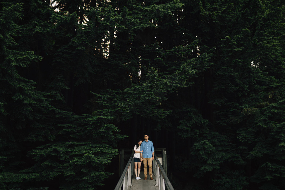 engaged couple at sasamat lake in port moody summer photography