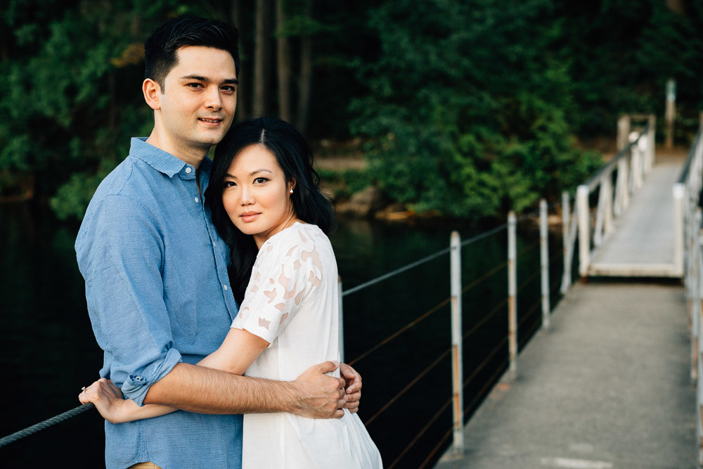 engaged couple portrait at sasamat lake port moody