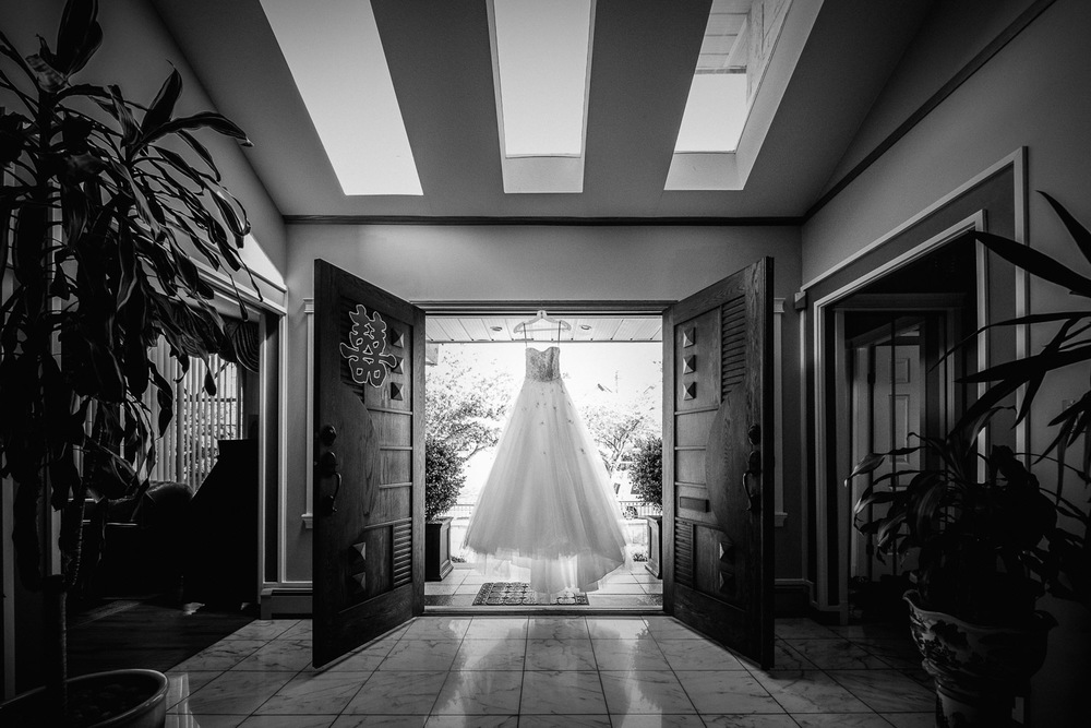 wedding dress of bride burnaby wedding photography black and white