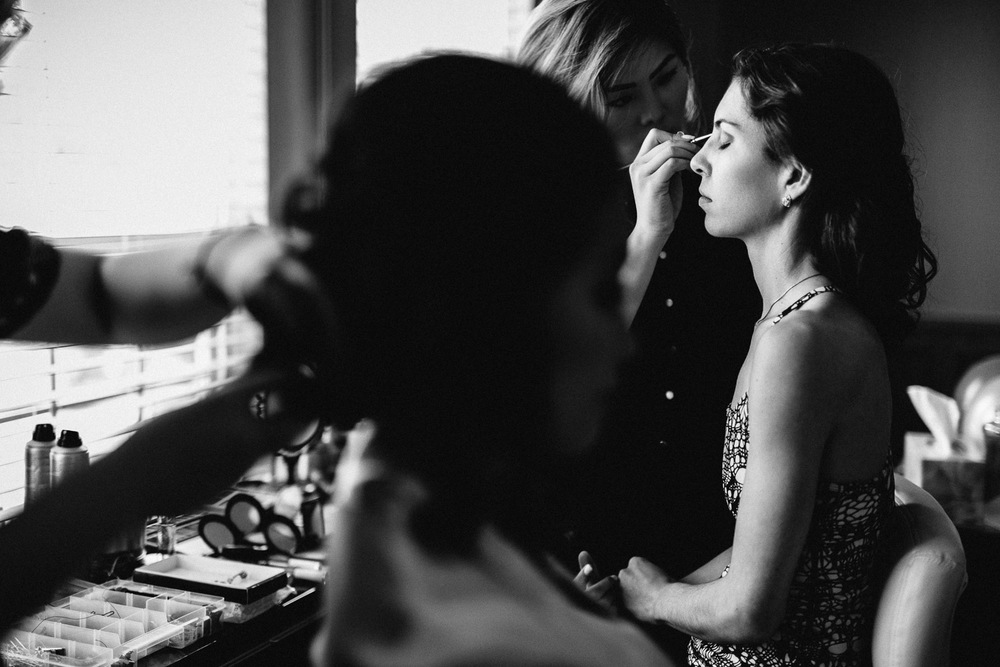 bridesmaid getting ready with bride burnaby wedding photography black and white