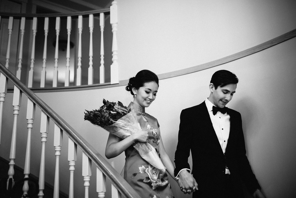 vancouver chinese wedding photography bride and groom in black and white