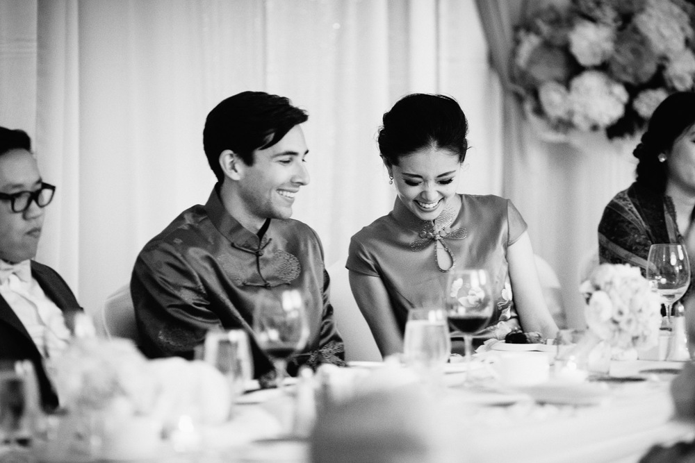 vancouver wedding photographer hotel four seasons reception candid black and white