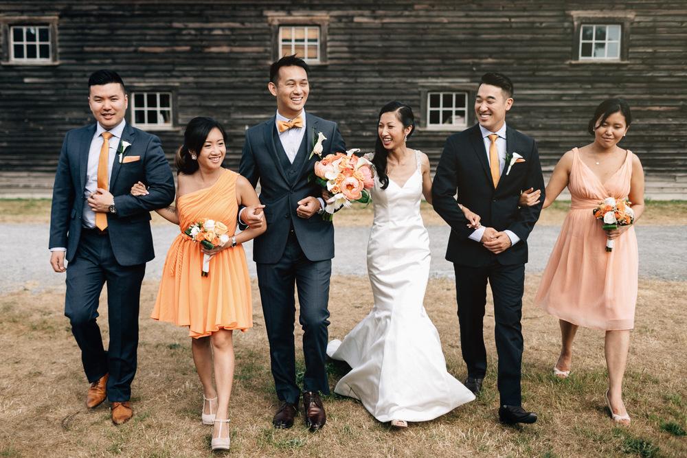 wedding bridal party walking at britannia shipyards