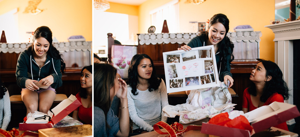 vancouver wedding photographer bride exchange gifts with bridesmaid