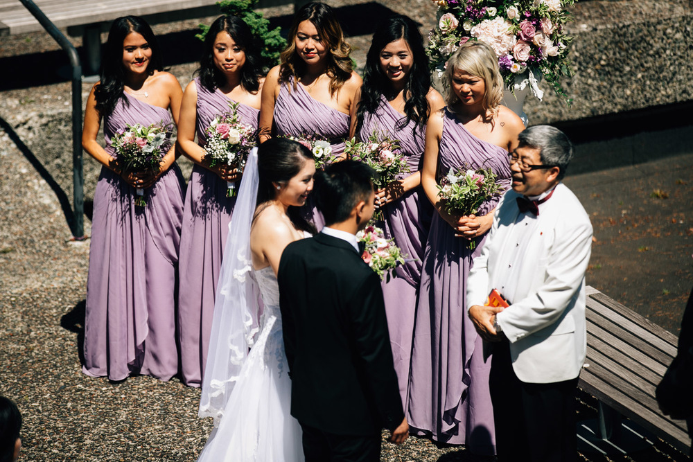 bridesmaids at ubc sage bistro wedding ceremony photography