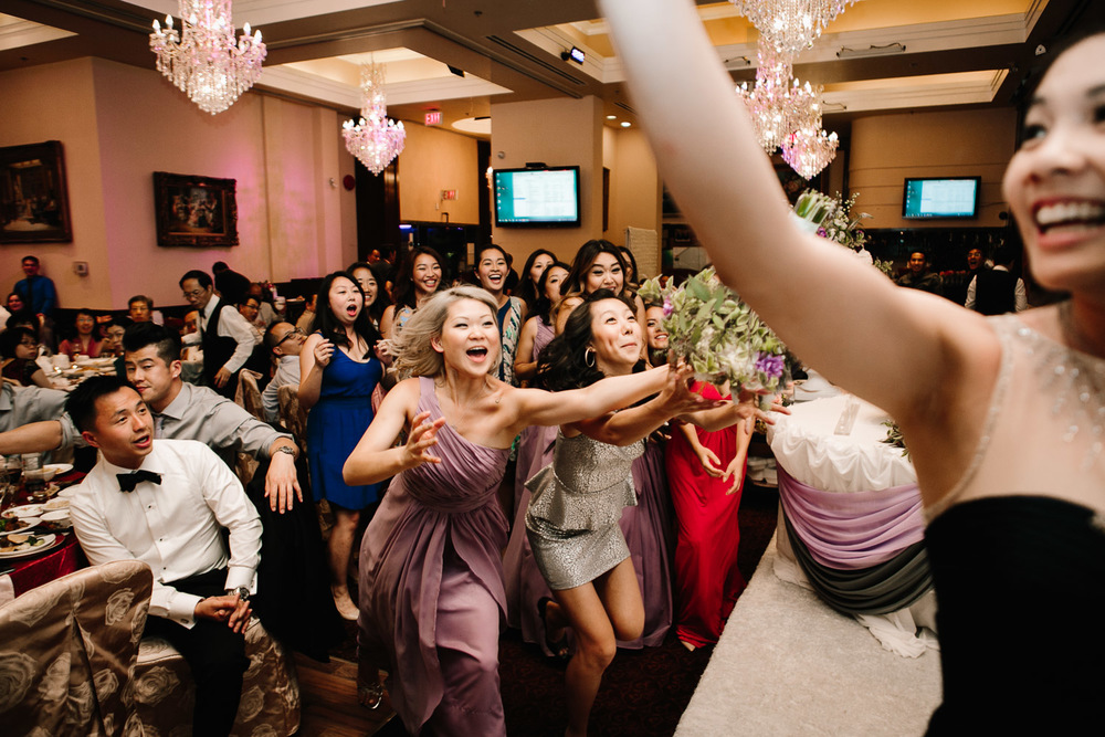 chinese wedding bouquet toss richmond wedding reception photography