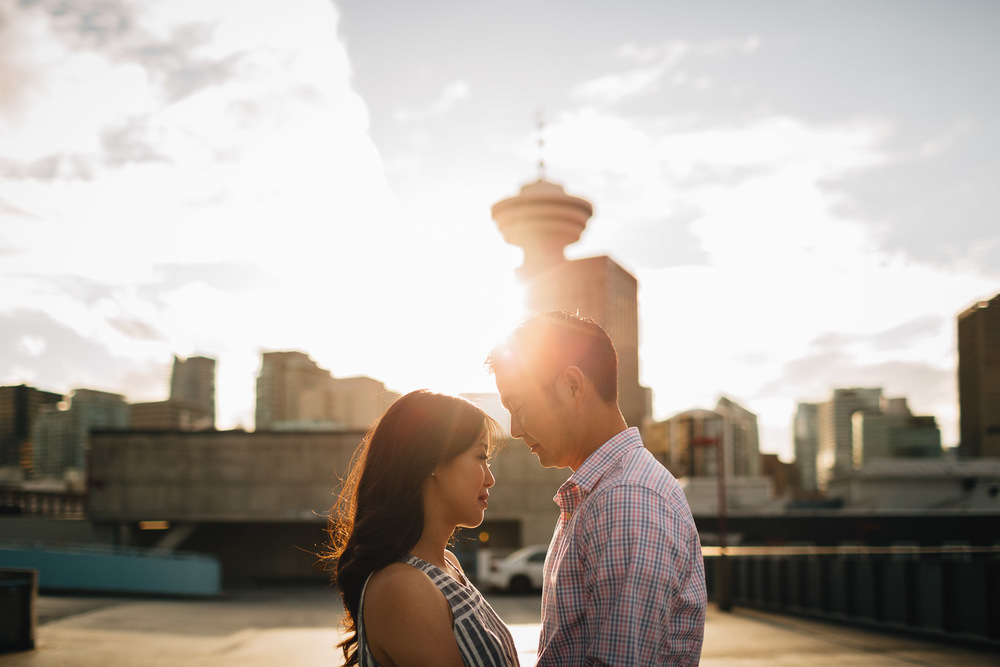sunset flares engagement photography gastown vancouver bc