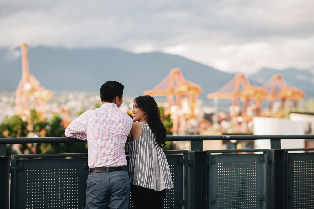 gastown engagement photography rooftop candid vancouver bc