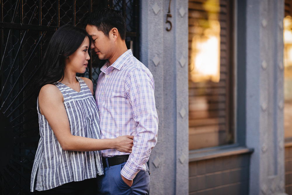 gastown engagement photography during sunset in vancouver bc