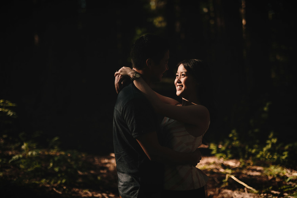 sunset forest engagement photography in Surrey BC