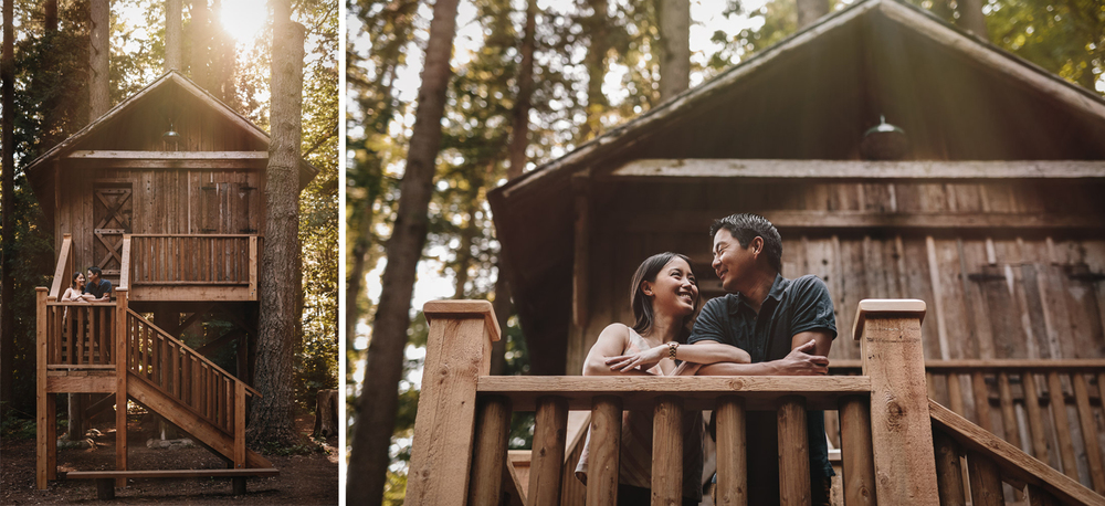 redwood park surrey bc engagement photography during sunset