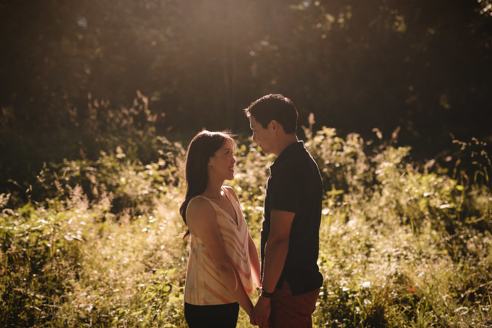 surrey sunset engagement photography at Redwood Park