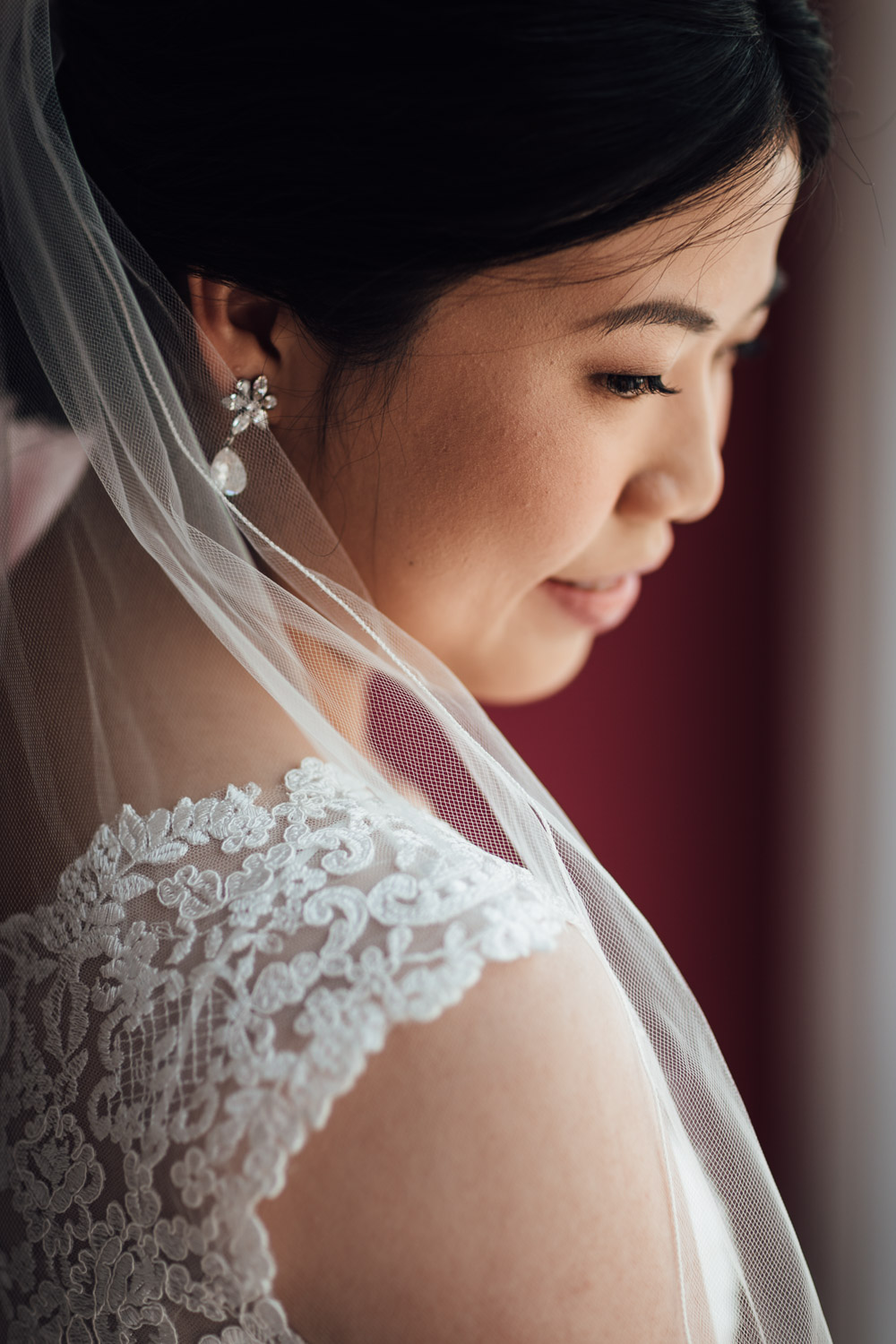 bride portrait getting ready in opus hotel in yaletown vancouver bc wedding photography