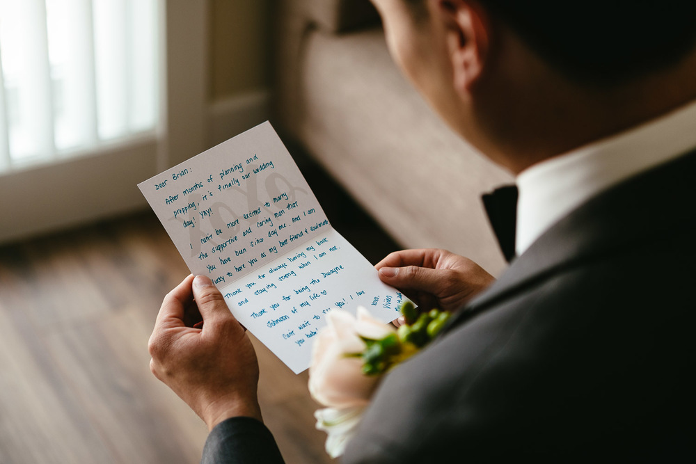 groom reading card from bride vancouver bc