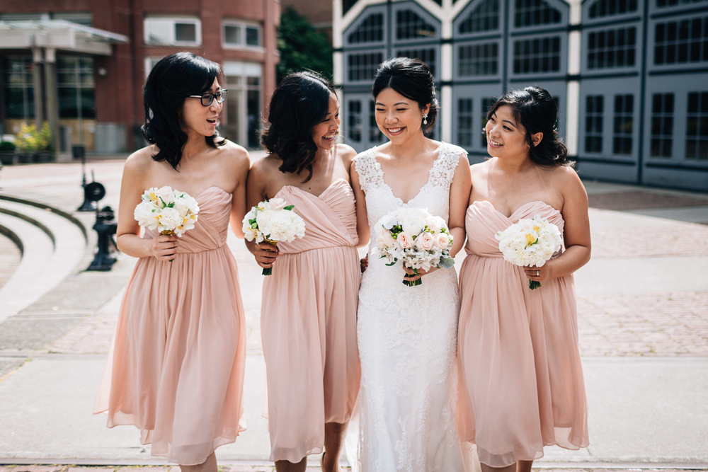 yaletown bride and bridesmaids wedding portraits vancouver bc