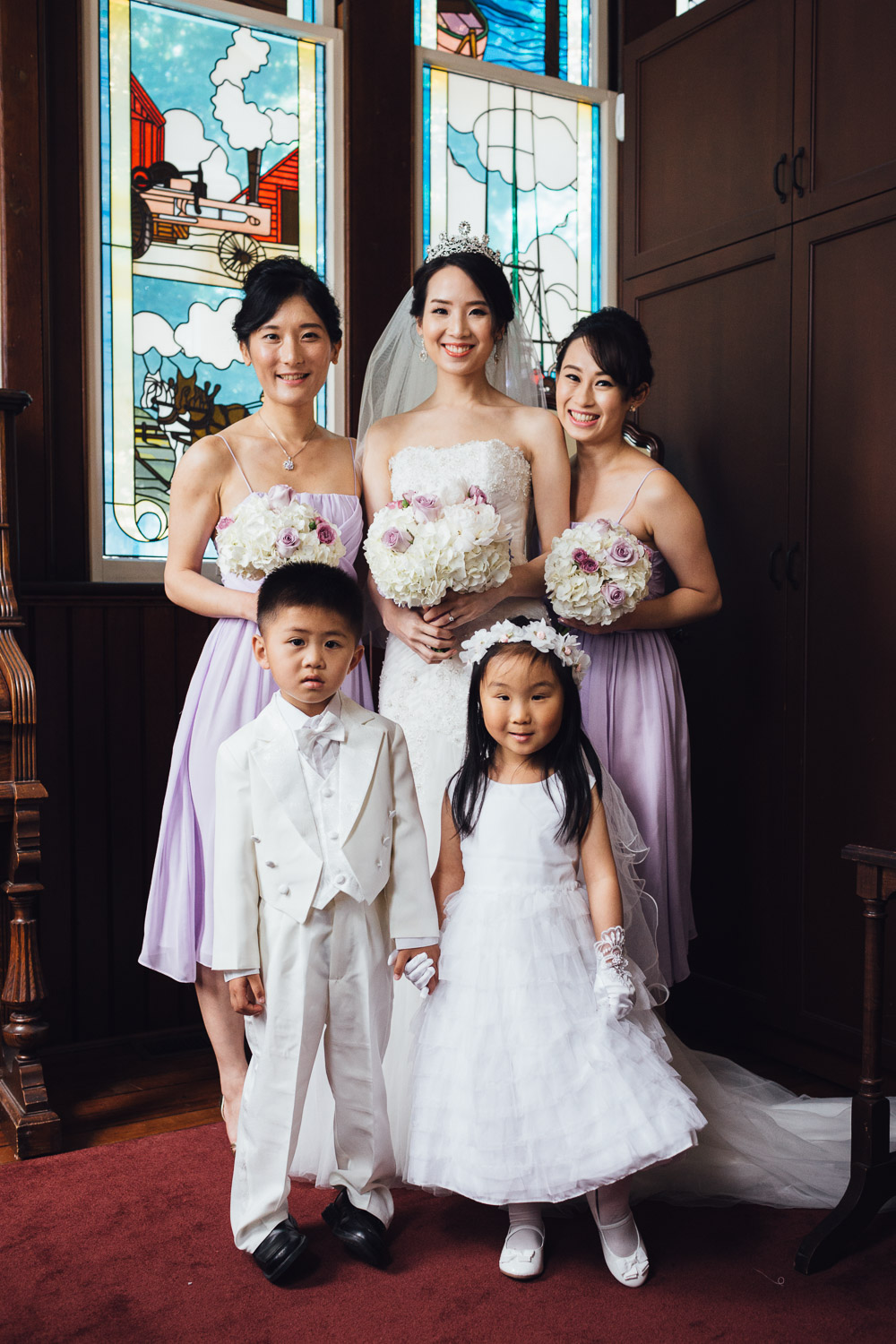 bride and bridesmaids in richmond bc at minoru chapel