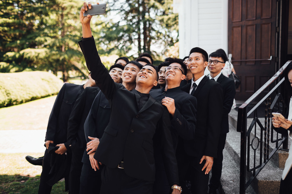 groomsmen selfie at minoru chapel in richmodn bc