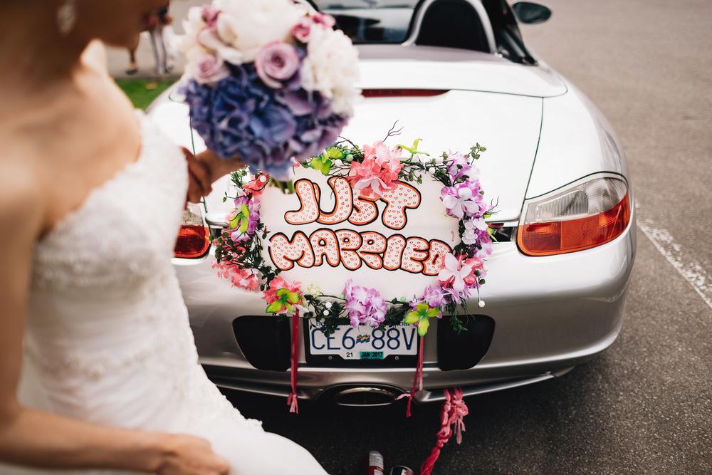 porsche car wedding portraits in richmond bc