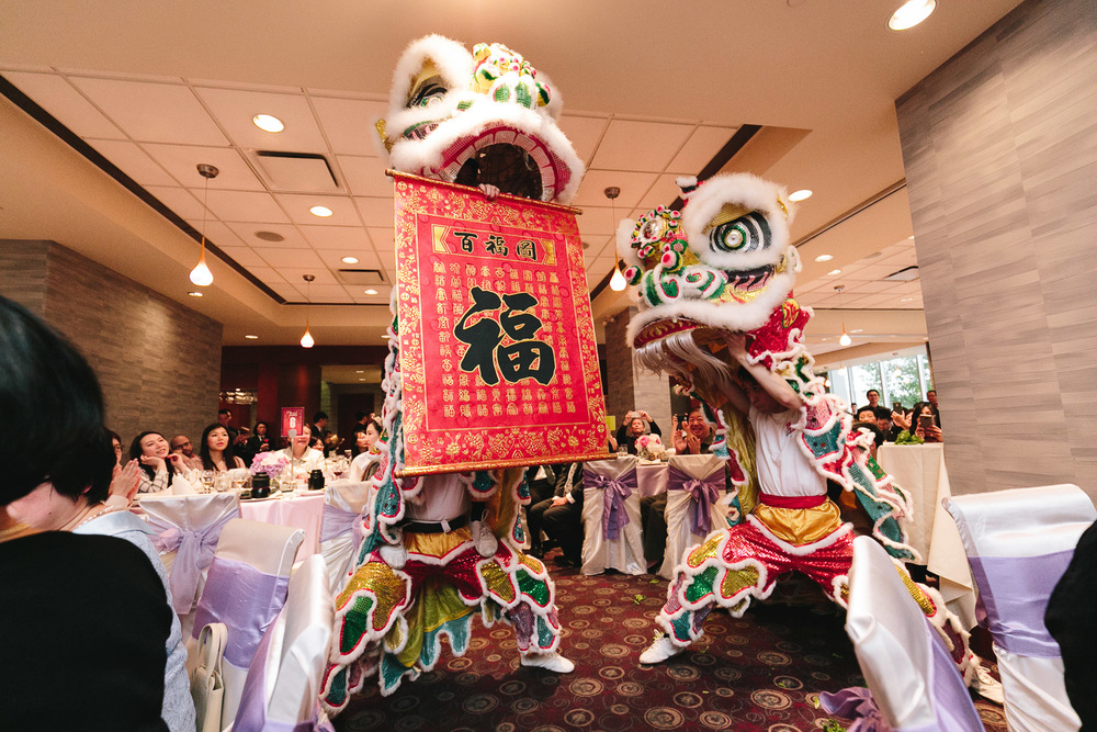 Chinese wedding dragon dance surprise at Kirin Restaurant