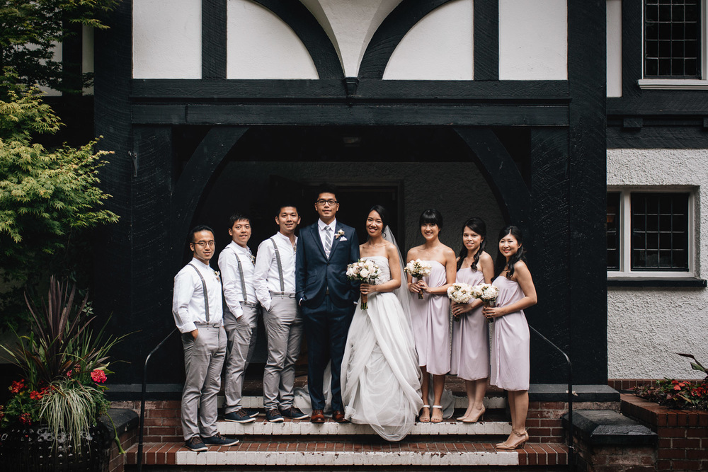 wedding bridal party at brockhouse vancouver bc in rain