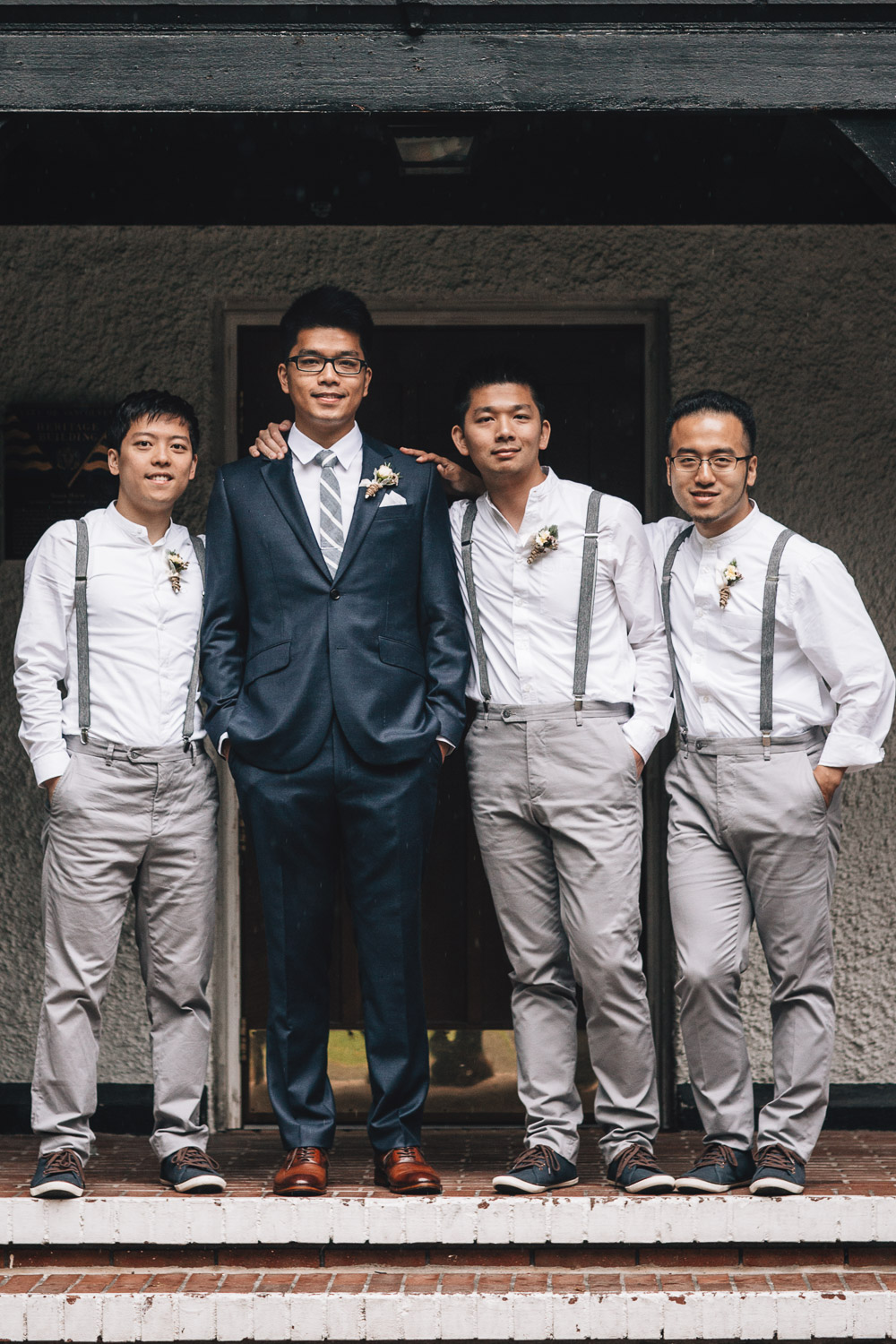 groom and groomsmen at brockhouse restaurant in vancouver bc wedding