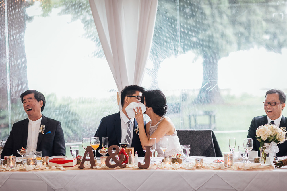 wedding kiss at brockhouse restaurant vancouver bc photography
