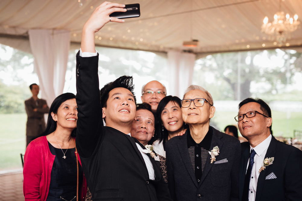 selfie group shot at  brockhouse restaurant wedding reception