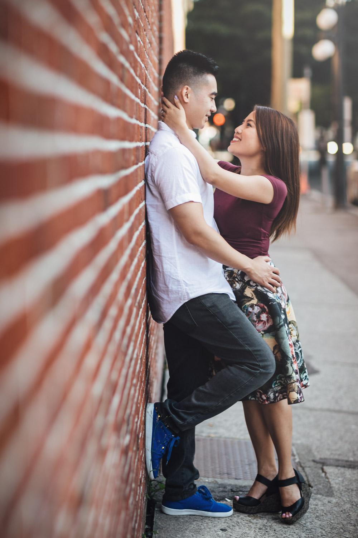 gastown engagement session portrait photography asian couple