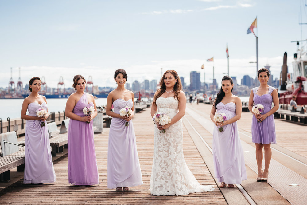 Bridesmaids in North Vancouver wedding portraits at Burrard dry dock