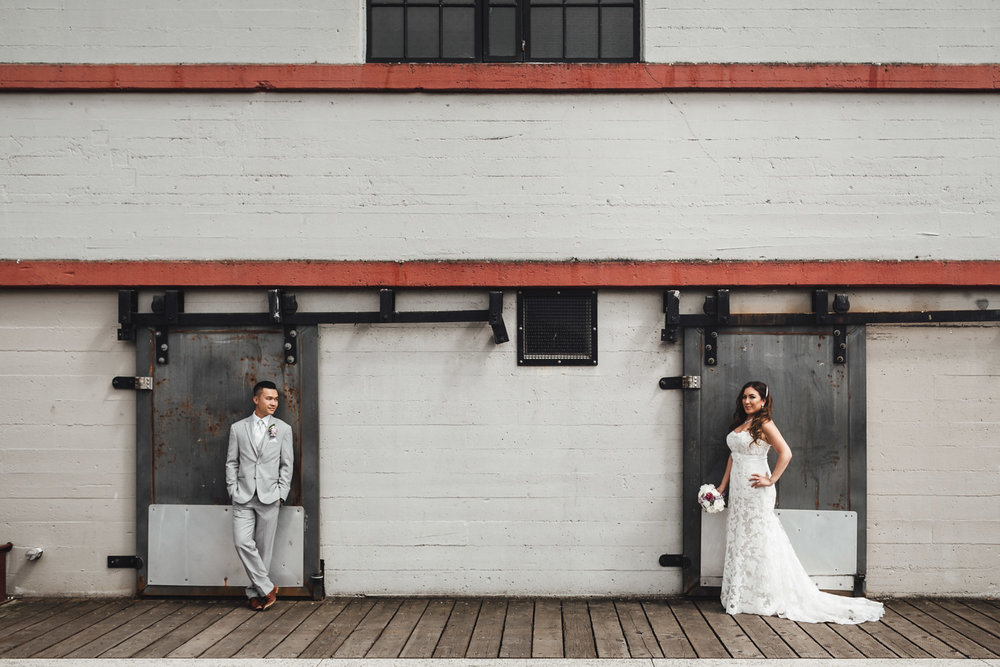 burrard dry dock pier wedding photography bride and groom in North Vancouver BC
