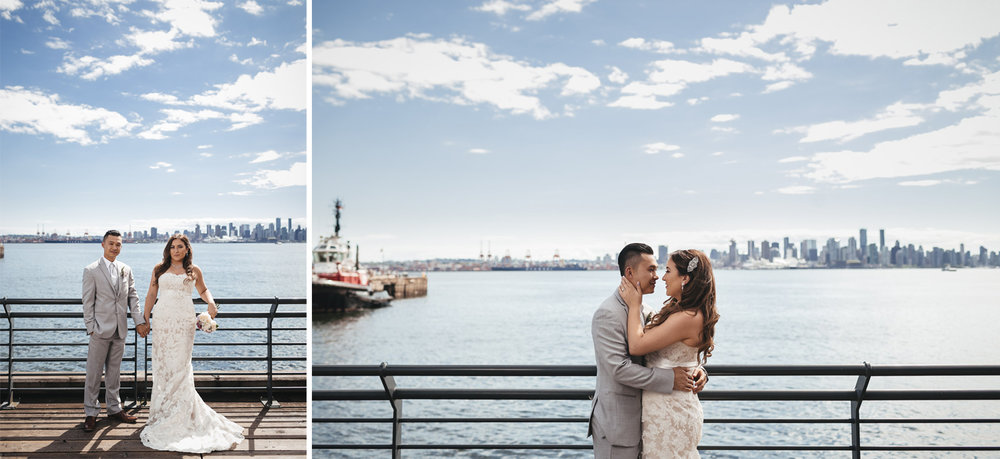 bride and groom at burrard dry dock in north vancouver for wedding photography portraits
