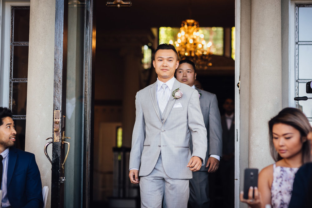 groom walking down aisle at hycroft vancouver wedding