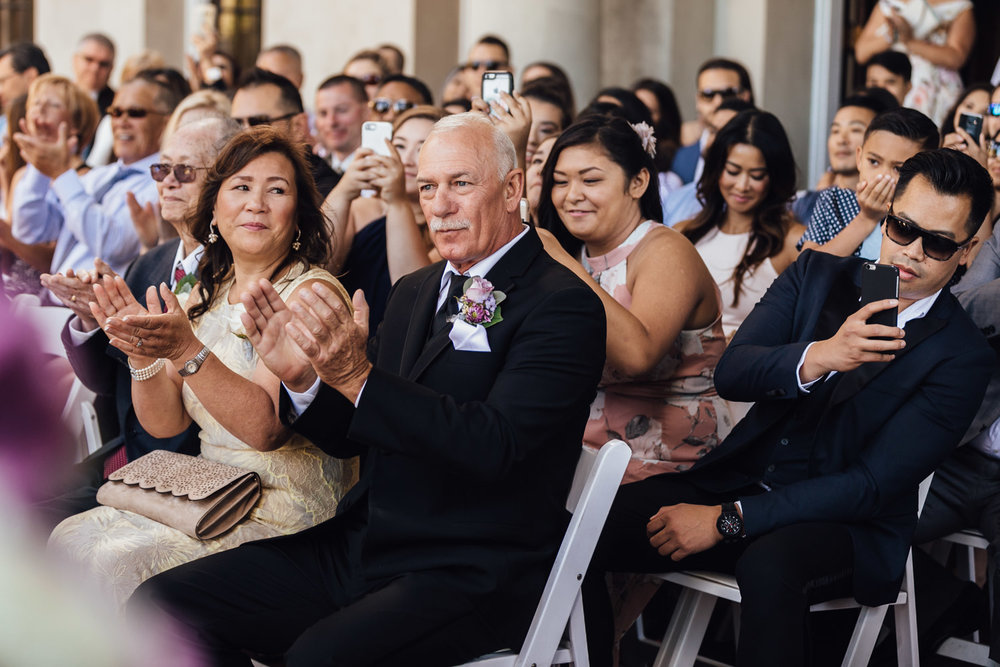 family reactions during wedding ceremony at hycroft in vancouver bc