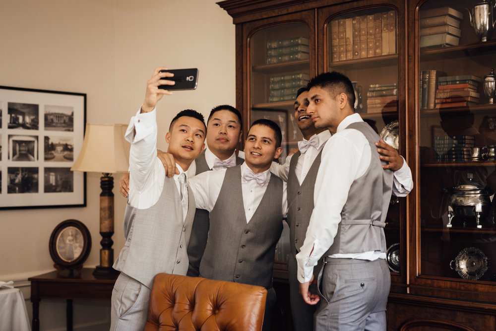 groom and groomsmen selfie at hycroft vancouver bc