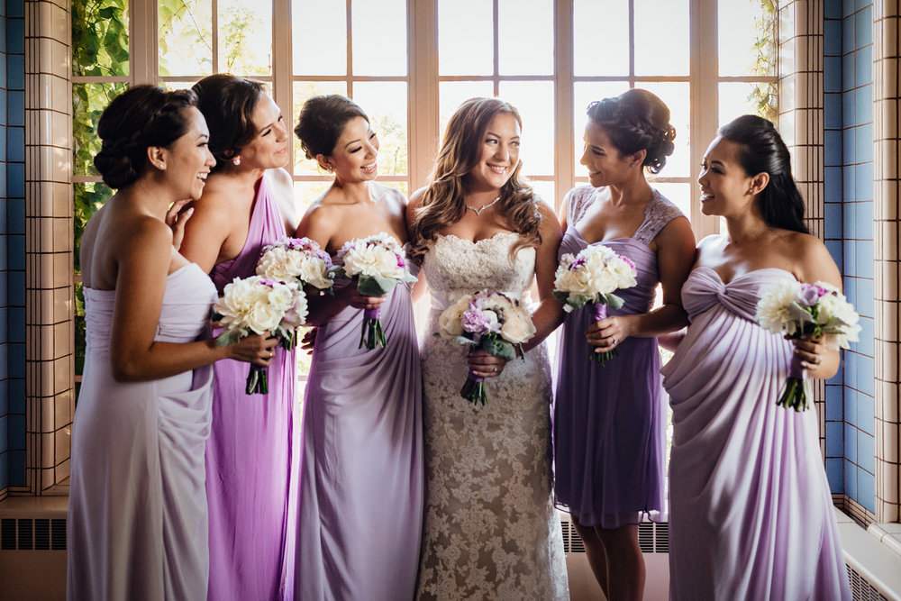 bridesmaids and bride at hycroft vancouver university womens club photography wedding