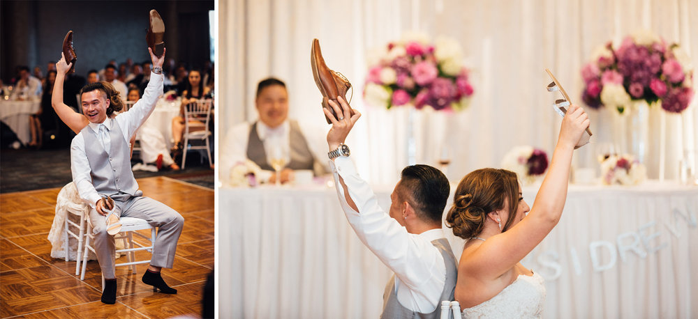 wedding shoe game at north vancouver pinnacle at the pier reception photography