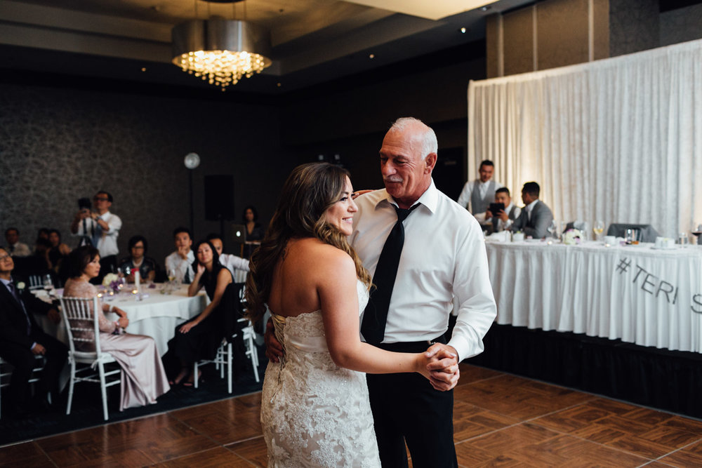 father daughter dance wedding reception at pinnacle at the pier hotel photography in north vancouver