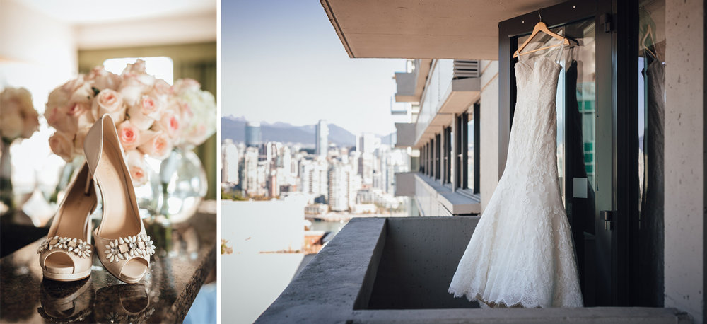 wedding dress and shoes vancouver wedding photography at holiday inn
