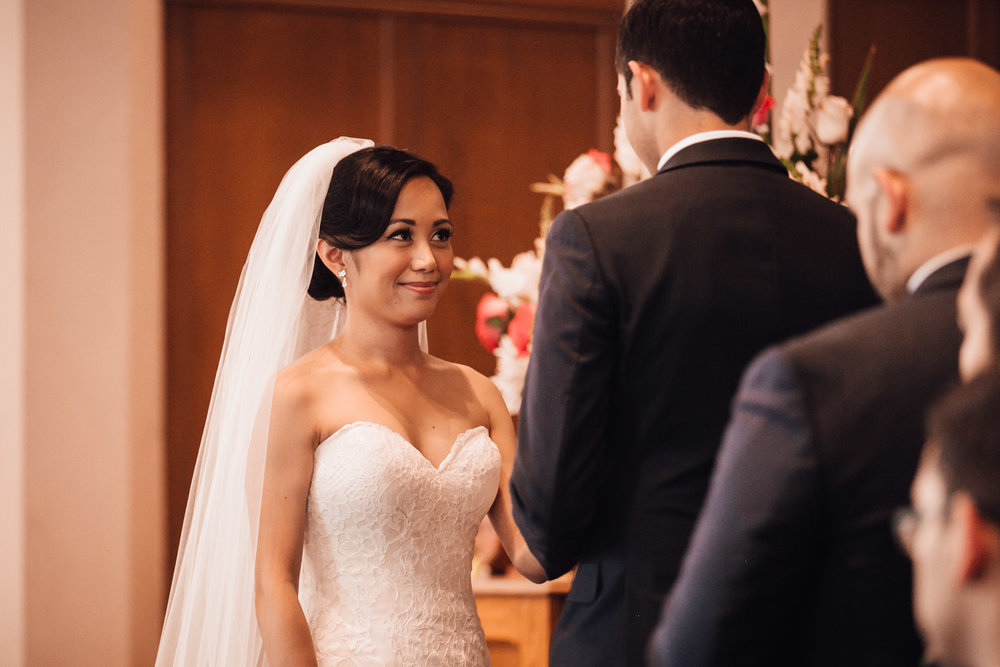 bride during ceremony at knox united church in vancouver bc