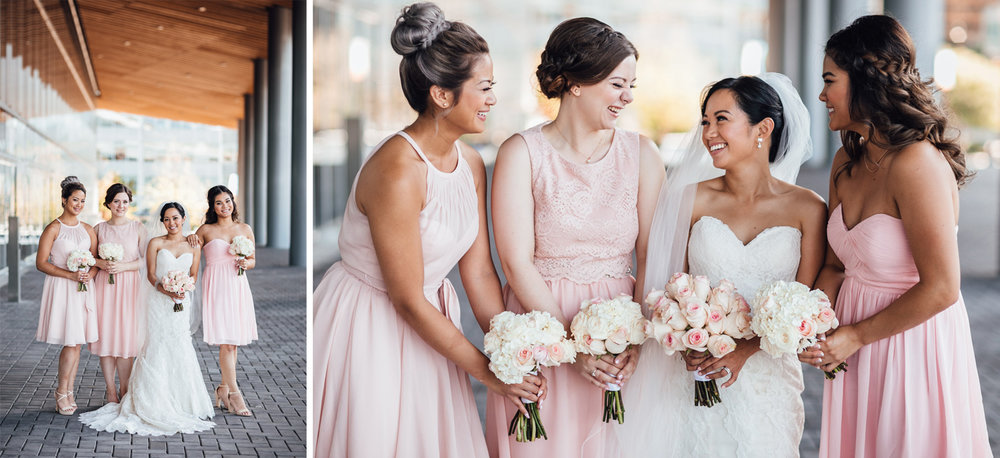 bride and bridesmaids portrait vancouver wedding photography