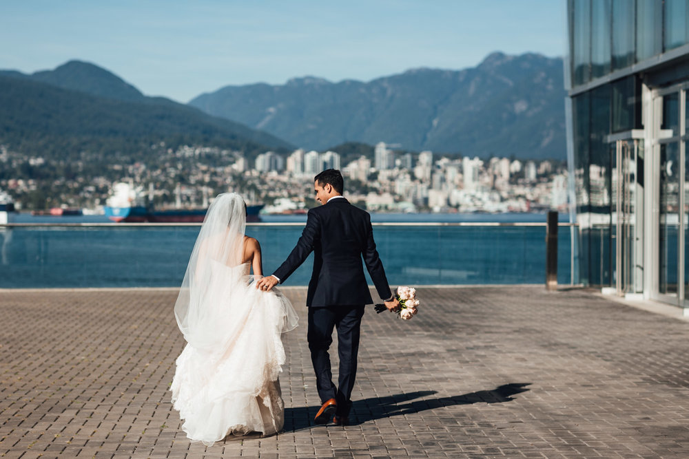 vancouver convention centre coal harbour wedding portraits candid
