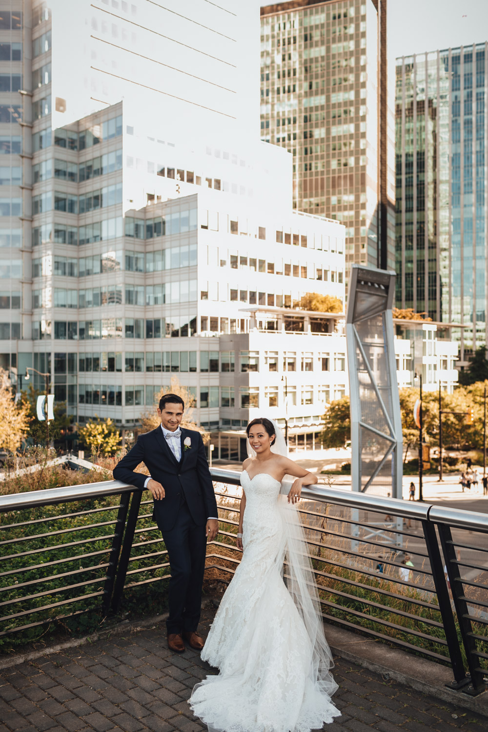 coal harbour vancouver wedding photography bride and groom rooftop