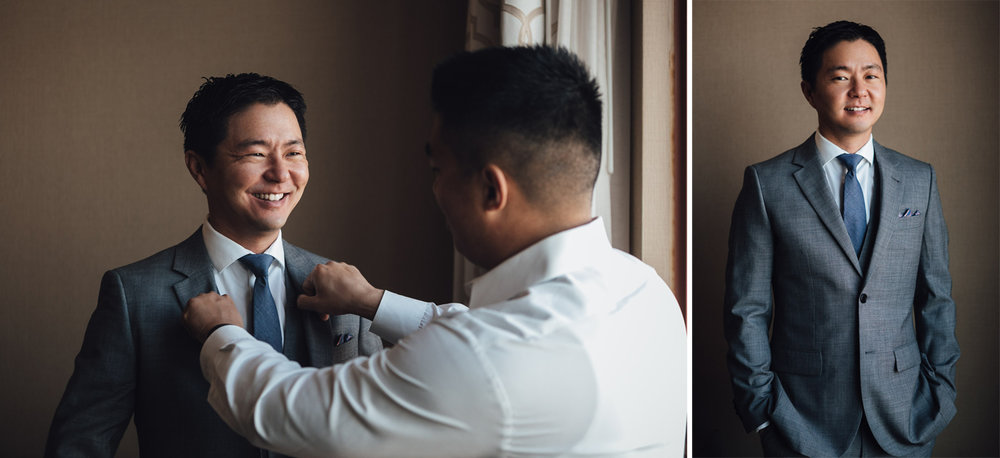 groom getting ready at river rock casino in richmond bc wedding photography
