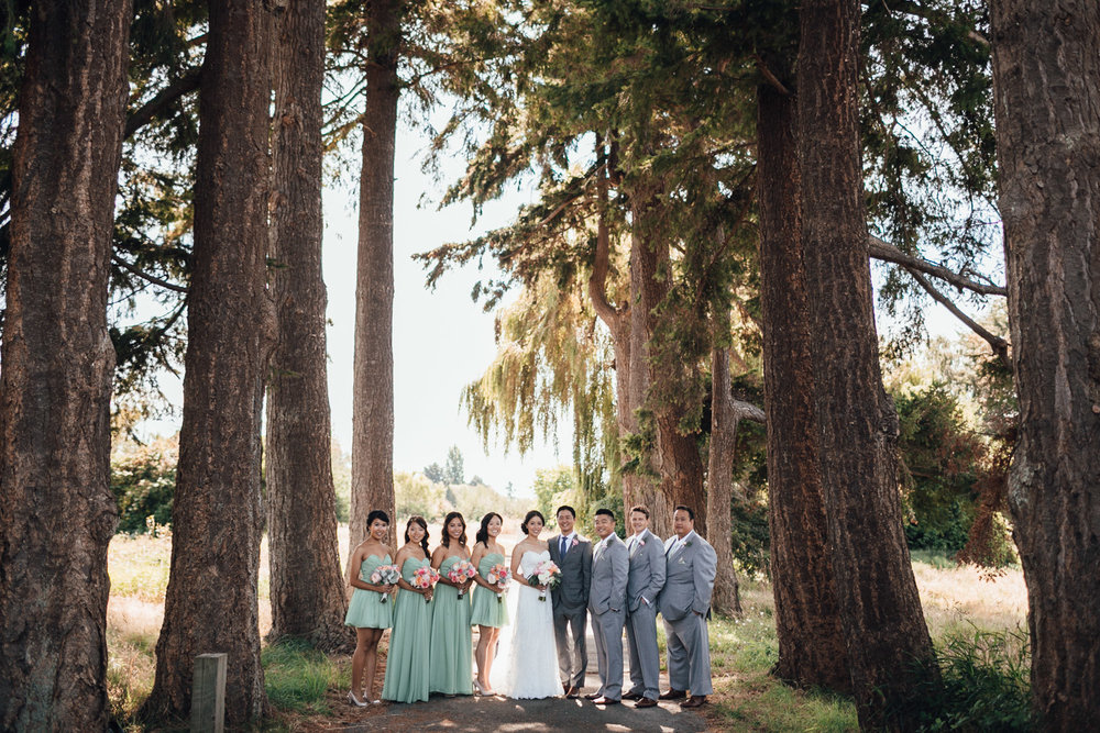 bridal party at terra nova park richmond bc wedding photography
