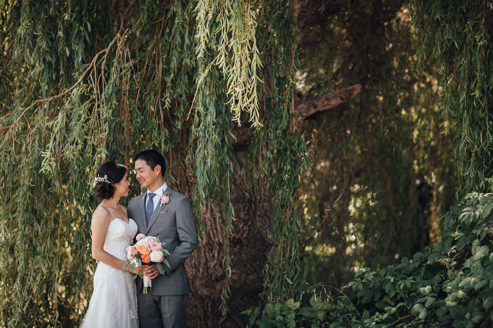 bride and groom portraits at terra nova park in richmond bc wedding photography