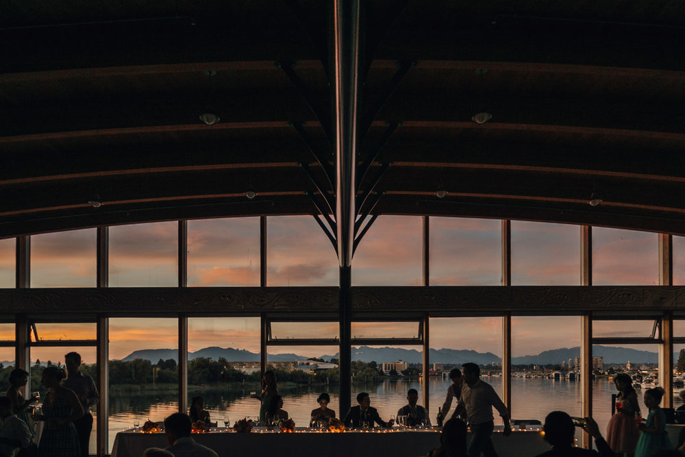 richmond wedding reception at ubc boathouse during sunset photography