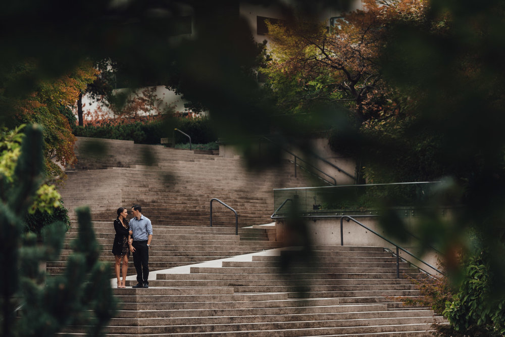vancouver engagement photography at robson square downtown autumn fall